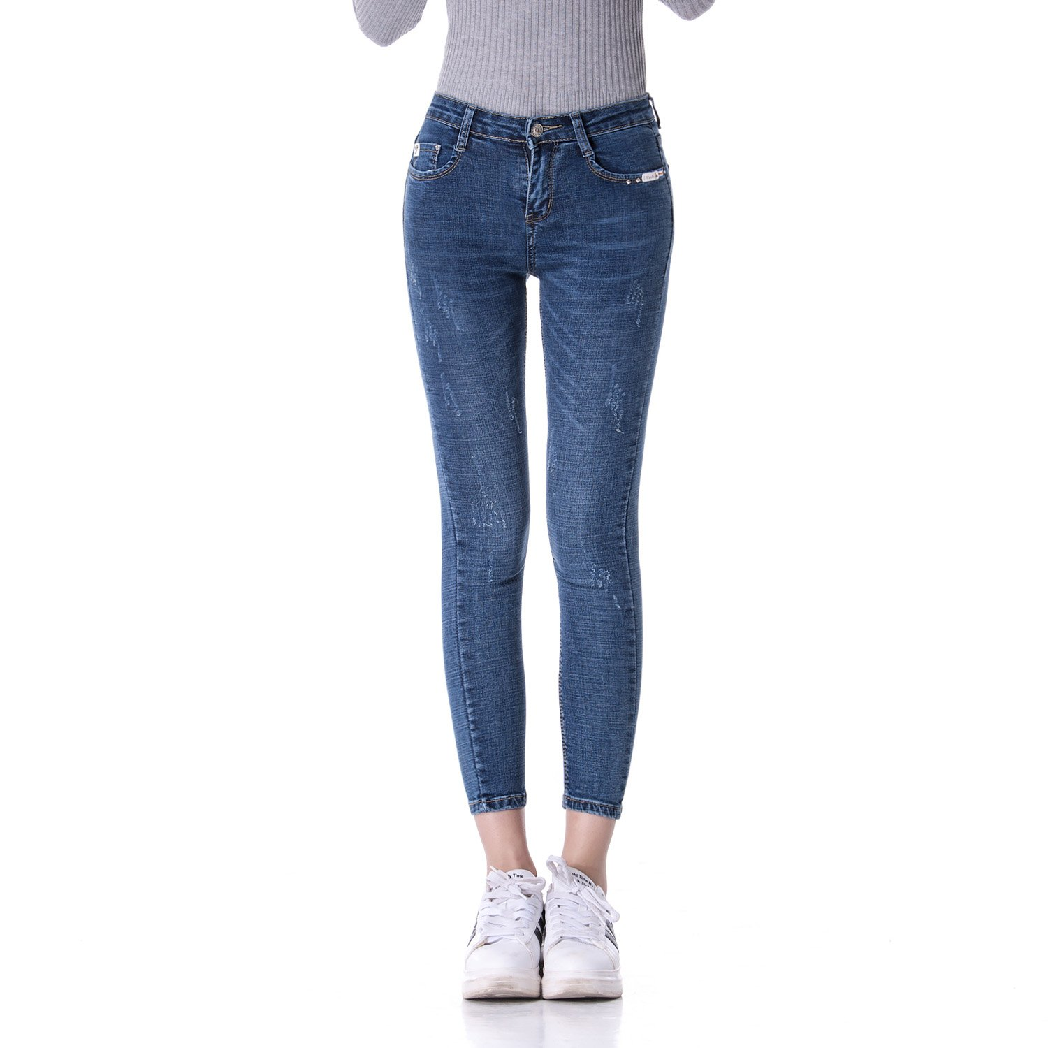 DSFMAILY Women's Juniors Distressed Slim Fit Stretchy Skinny Jeans with accesory (28, Blue)