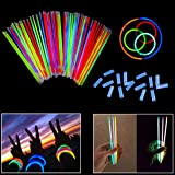 8 Inch Glow Stick Bracelets - 100 Pack in Assorted Colors With 100 Connectors - Glows For 8-12 Hours - By Dazzling Toys