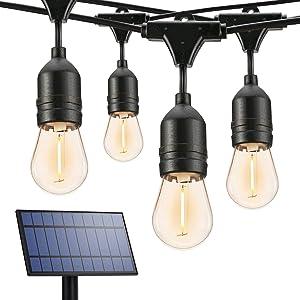 Brizled Solar String Lights Outdoor, 39ft 16 LED Solar String Lights with 4 Modes, S14 Hanging Solar Patio Lights String Waterproof Outdoor Solar Lights for Garden Backyard Balcony Porch Gazebo, 2700K