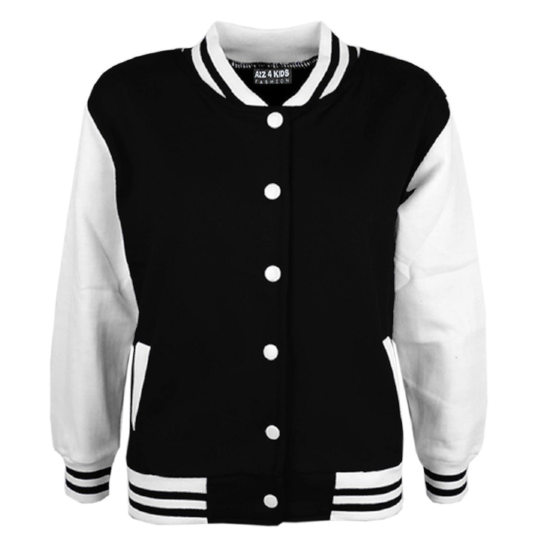 A2Z 4 Kids® Bambini Ragazze Ragazzi Baseball Giacca - B.B Plain Jacket Black 11-12