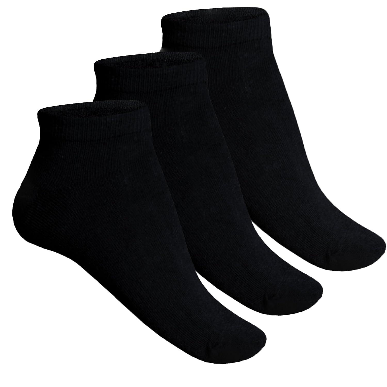 12-48 Paar Sneaker Socken Herren Damen Schwarz Baumwolle Unifarben Klassisch von SGS