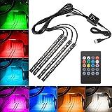 車テープライト,EECOO LEDテープライト RGB テープライト 車内装飾用 USB式 高輝度 高品質 フットランプ 足下照明 音に反応 多種フラッシュモードリ 全8色に切替 リモコン付き