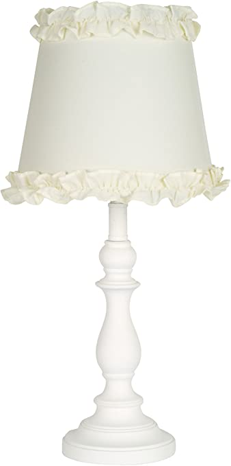 Virtue Enterprises 047 17WH Girls Table Or Desk Lamp With Cream Ruffle Shade