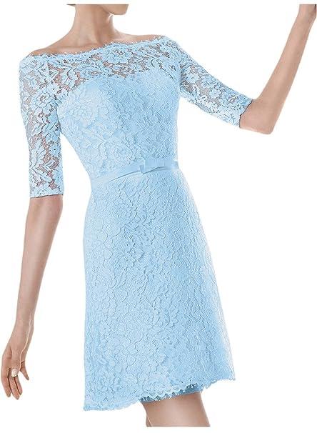 Ivydressing - Vestido corto de noche para mujer, manga media, cuello en U,
