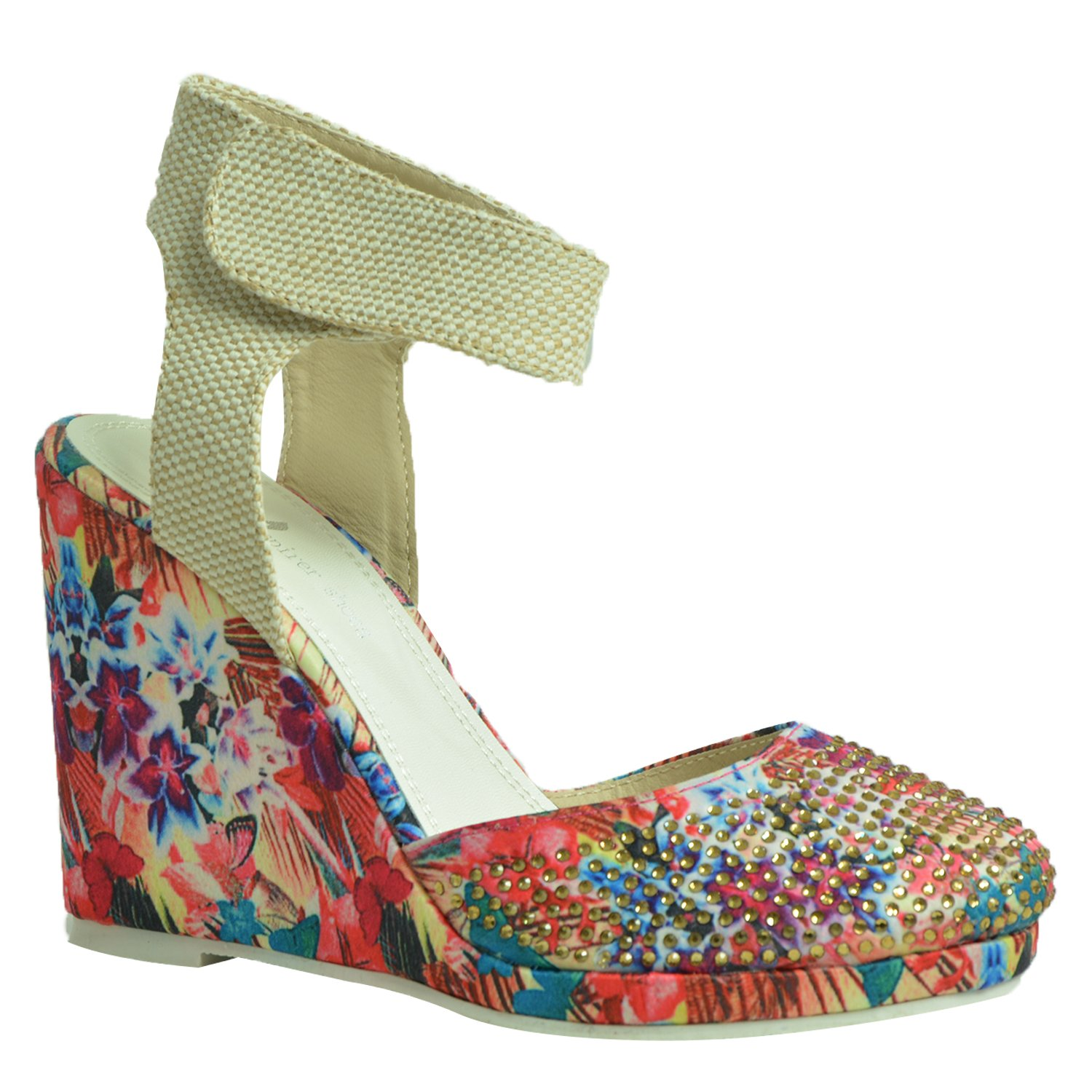Ladies Womens Wedge Pumps Ankle Strap High Heels Platform Party Shoes Size Uk