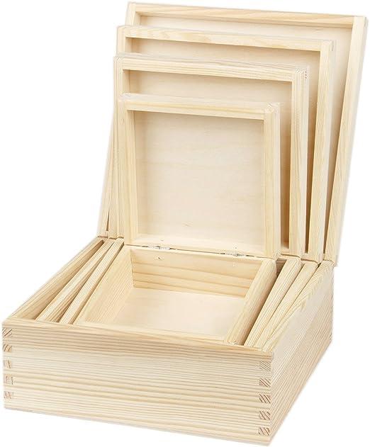 4 pieza cuadrada inneinender einlegbare Cajas de madera natural ...
