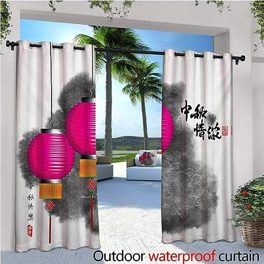 Homehot Linterna exterior cortina de privacidad para pérgola color artístico salpicaduras en un estilo de mano dibujo linterna figura con aspecto abstracto térmico aislado impermeable Drape para balcón multicolor: Amazon.es: Jardín