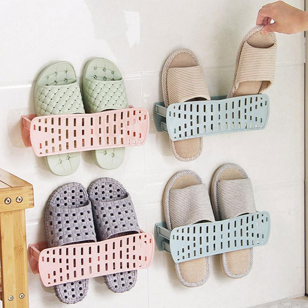 YJYdada Storage Holder Home Plastic Wall Hanging Hanger Slippers Shelf Storage Organizer