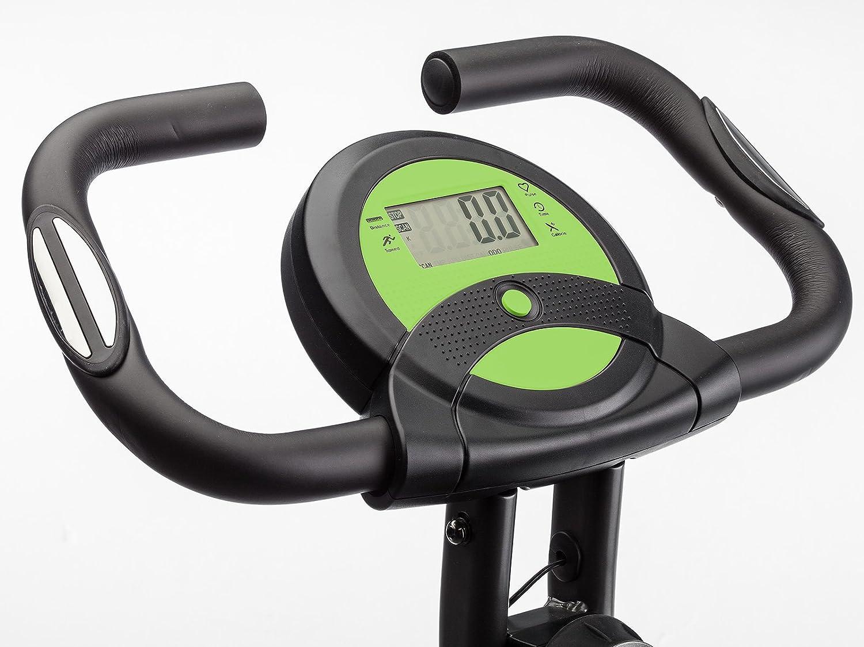LCD Display 8-stufiger Magnetwiderstand skandika Foldaway X-1000 Fitnessbike Heimtrainer x-bike F-Bike klappbar mit Handpuls-Sensoren