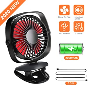 Clip On Stroller Fan, Mini Portable Desk Fan with Rechargeable 2000mAh Battery, 3 Speed Levels, 360°Adjustable Rotation, Quiet Personal Fan for Baby Stroller/Home/Camping/Travel/Office/Car/Gym