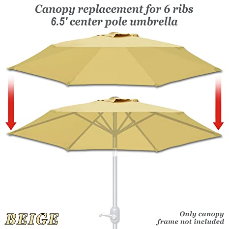 5616bd5e139b Strong Camel Replacement Umbrella Canopy Cover for 6.5ft 6 Ribs Patio  Market Umbrella (CANOPY ONLY) (Beige)