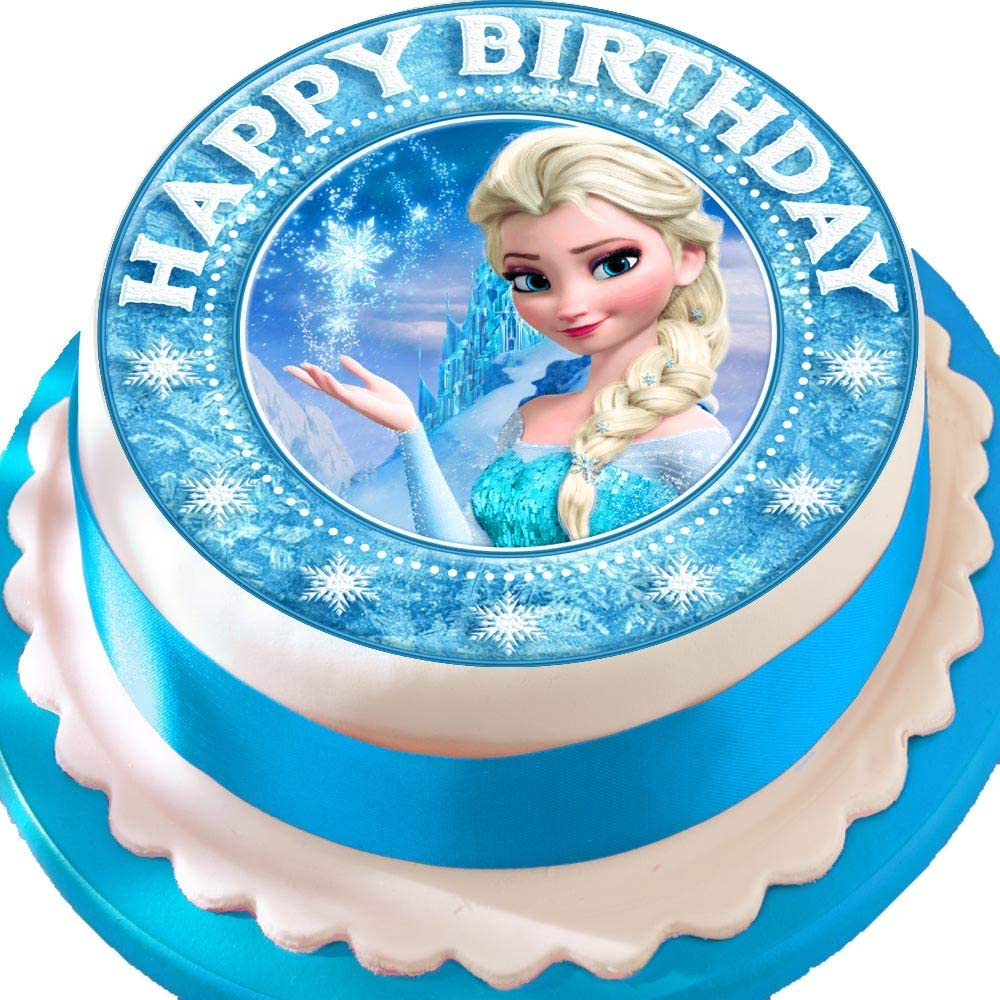 Astonishing Frozen Elsa Happy Birthday Star Border Precut Edible Icing Cake Funny Birthday Cards Online Elaedamsfinfo
