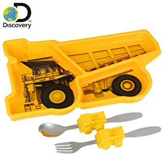 Discovery Earth Mover Meal Builder - 3 Piece Set for Kids & Toddlers - Construction Themed Plate, Fork & Spoon - Perfect for All Meals & Snacks - Promotes Portion Control - Dishwasher & Microwave Safe