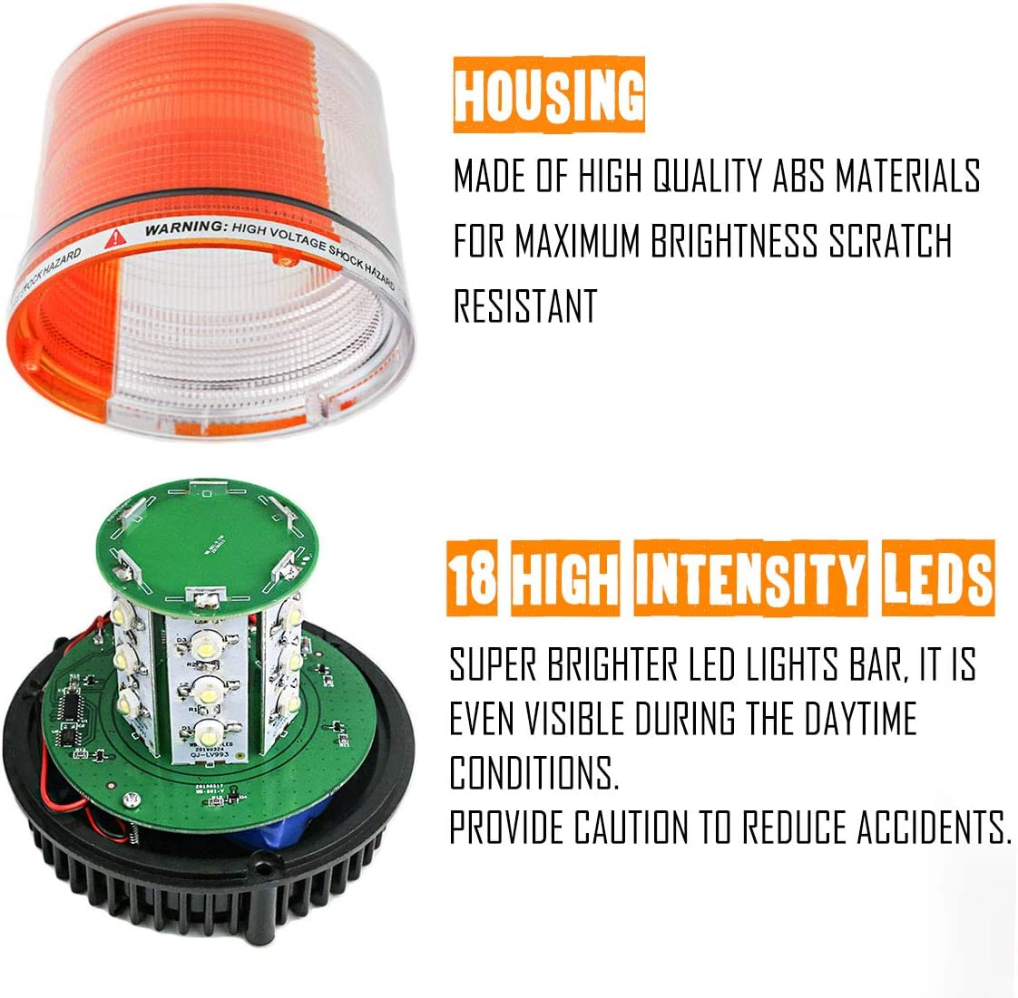 LE-JX Amber//White Wireless Rotating Beacon Orange Battery Led Strobe Warning Light Roof Top Plow Hazard Flash Emergency Lights 12V with Magnetic Base Mount and Rechargeable Plug Yellow//White, 18 LED