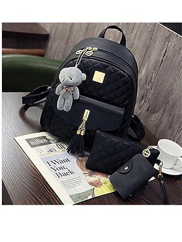 Amazon.com  Jeff Tribble 3 Pcs Bear Backpack Women Bag Diamond Lattice  School Bags For Girls Backpacks For Women 2018 New Tassel Shoulder Bags  Black ... 37c0a7ab14e7b
