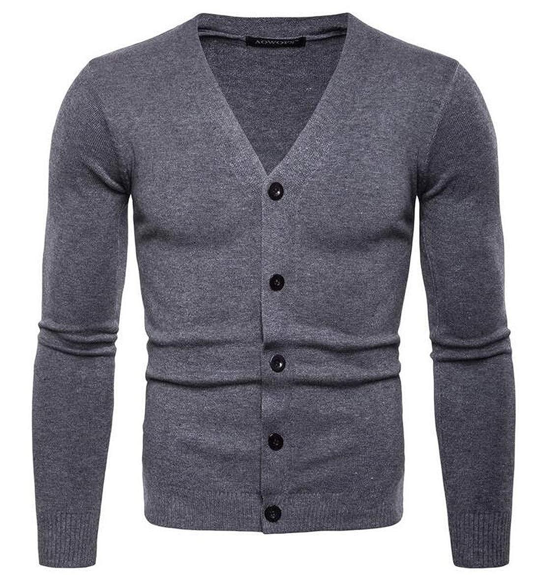 BU2H Men Shawl Collar Cardigan Sweater Button Down Knitwear Overcoat