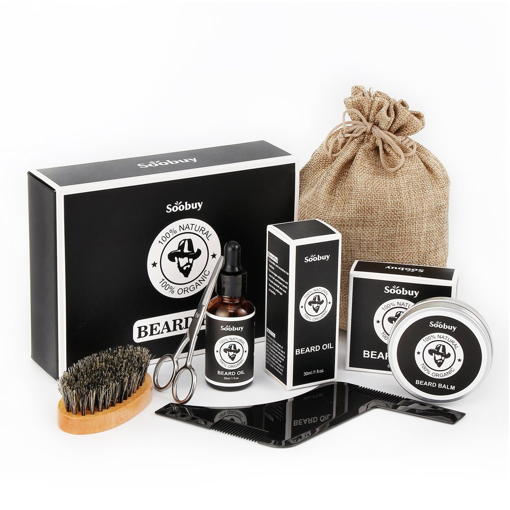 Beard Care Grooming & Trimming Kit for Men, Mustache & Beard Growth Oil Conditioner, Beard Brush, Beard Balm Wax, Mustache Scissors, Beard Shaping & Styling Tool with Inbuilt Comb, Gifts for Men Dad