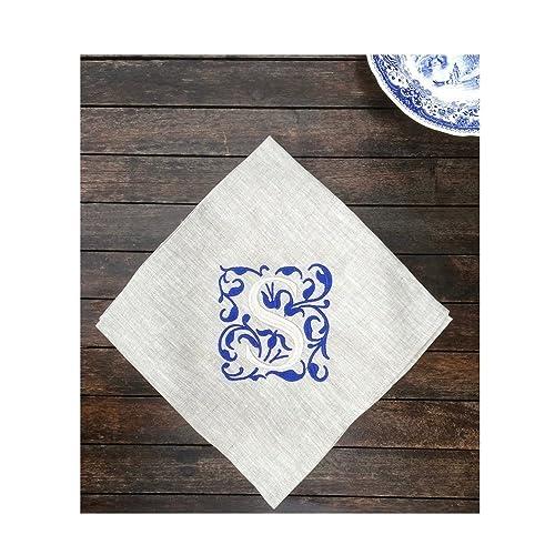 royal blue linen personalized monogram napkin sets customizable grey wedding table linen