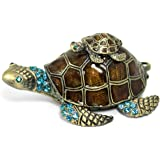 Waltz&F Turtle Trinket Jewelry Box with Sparkling Light Green CrystalsHinged Trinket Box Hand-painted Figurine Collectible Ring Holder