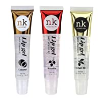 Nicka K New York Lightweight Nonstick Clear Lip Gloss Gel Vitamin E Set of 3 - COCONUT - ROSEHIP - ARGAN OIL