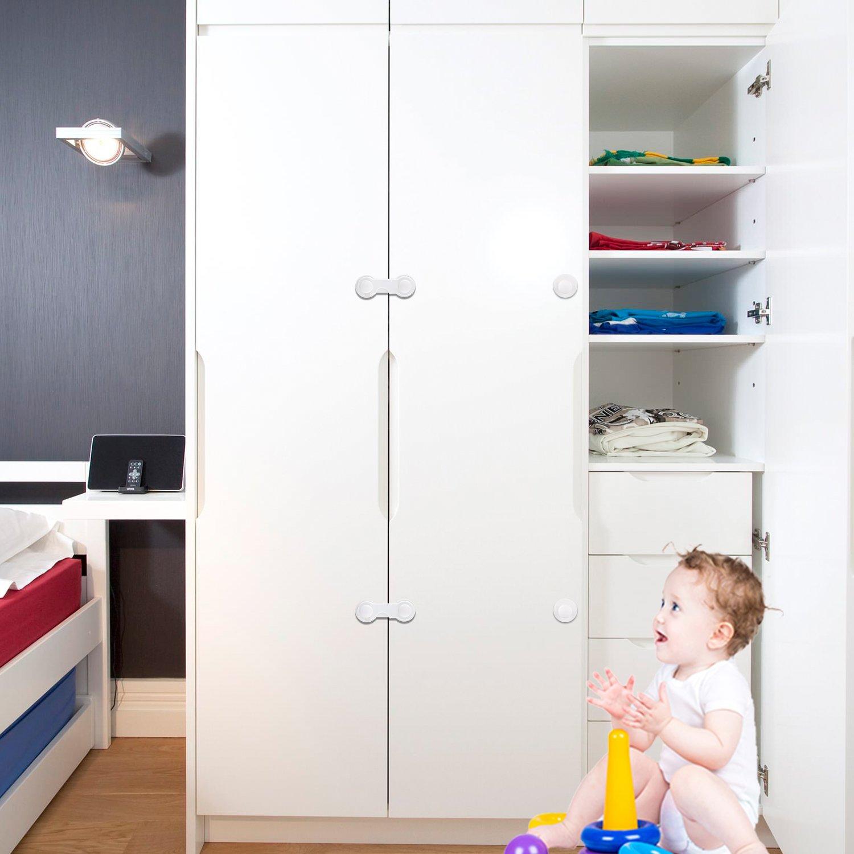 Baby Schubladensicherung ohne Bohren Schublade T/ür Schrank K/ühlschrank Sperrt Einfache Anbringung 10er Pack JESWELL Kindersicherung Schrank F/ür Baby Sicherheit