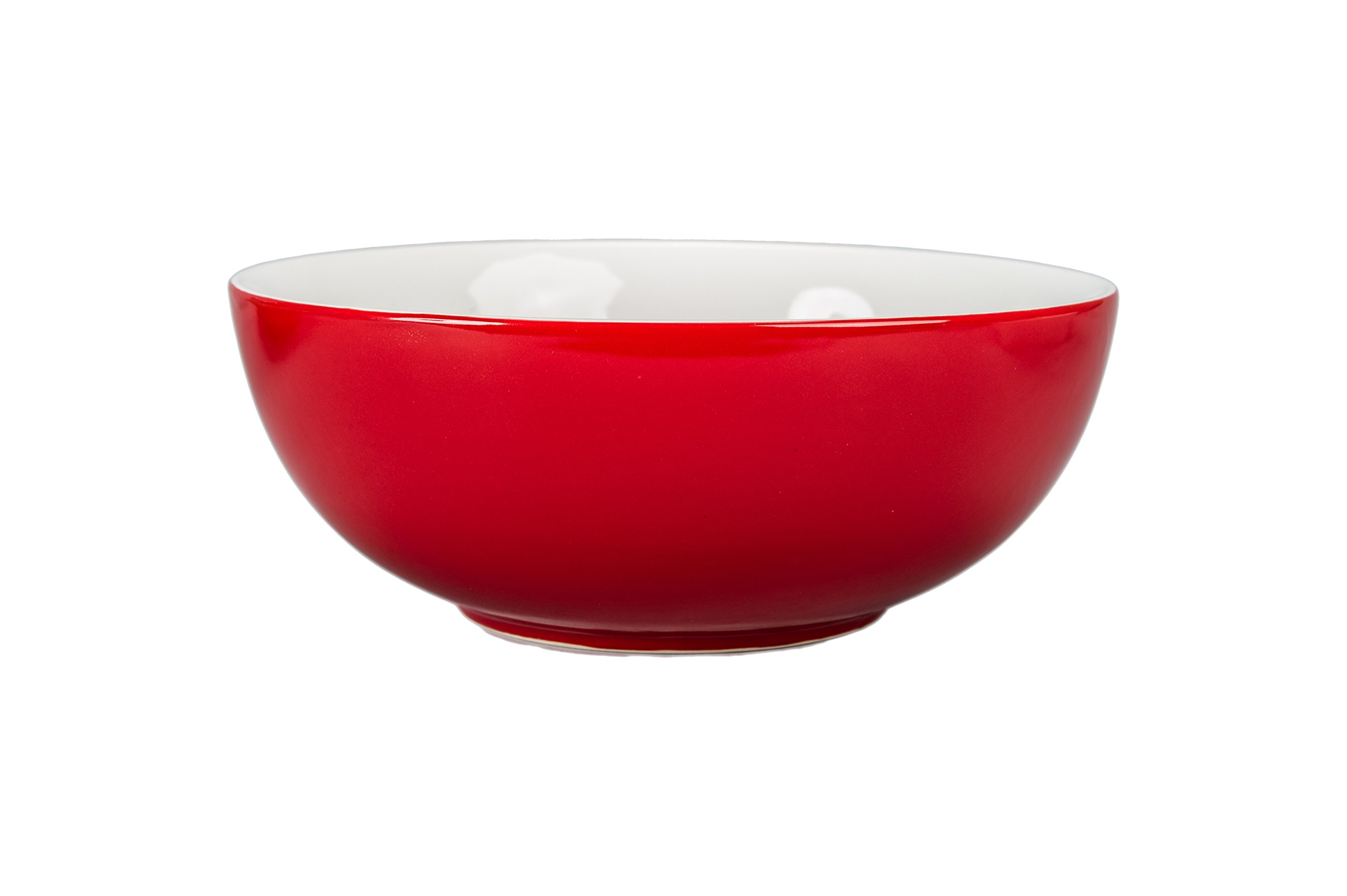 BIA Cordon Bleu Seasons 1.75-Quart Porcelain Serve Bowl, Spice Red/White
