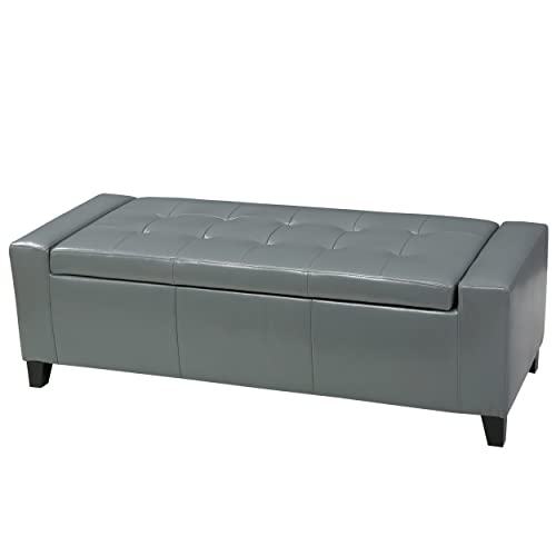 Christopher Knight Home Robin Grey Leather Storage Ottoman Bench