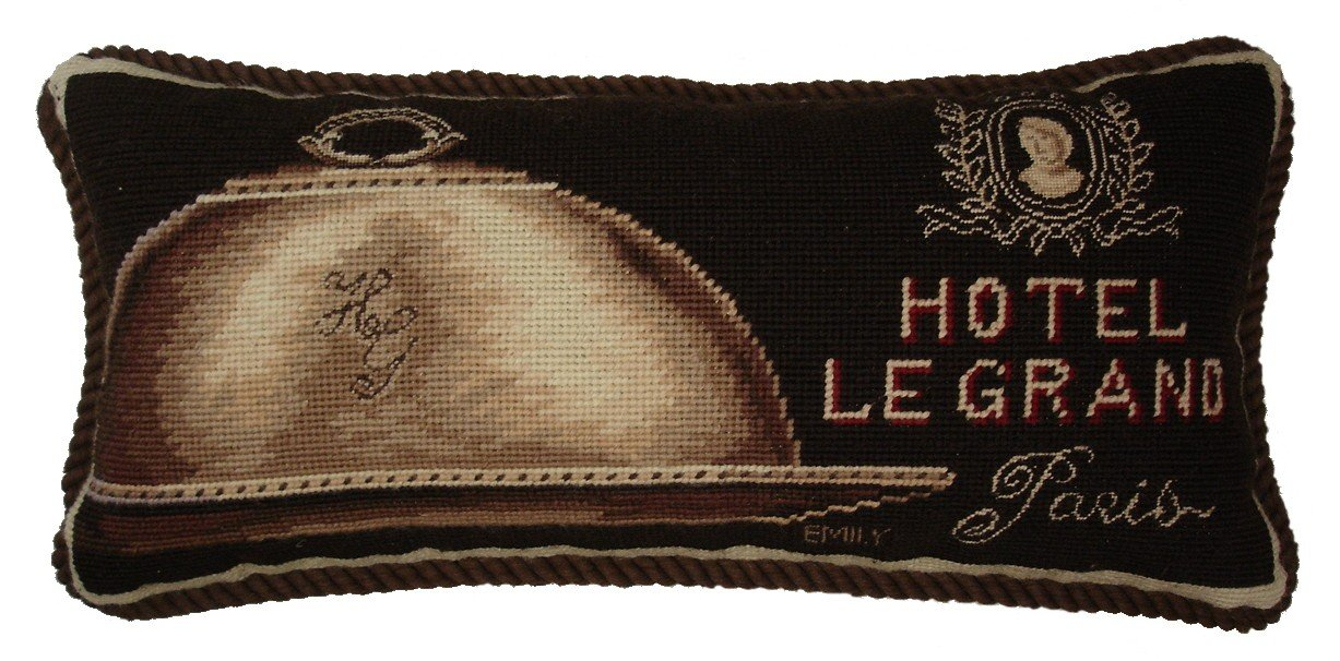 Deluxe Pillows Hotel Le Grand - 9 x 19 in. needlepoint pillow