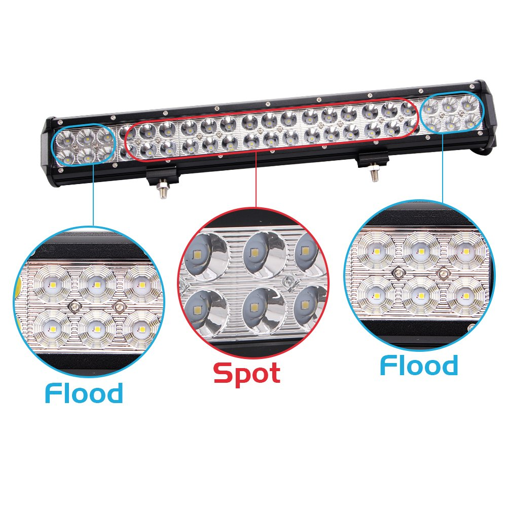 Northpole Light 20 Inch 126w Waterproof Spot Flood Combo Wiring Emergency Lights In Singles Led Bar With 2pcs 18w Cree Work And 12v 40a Harness For