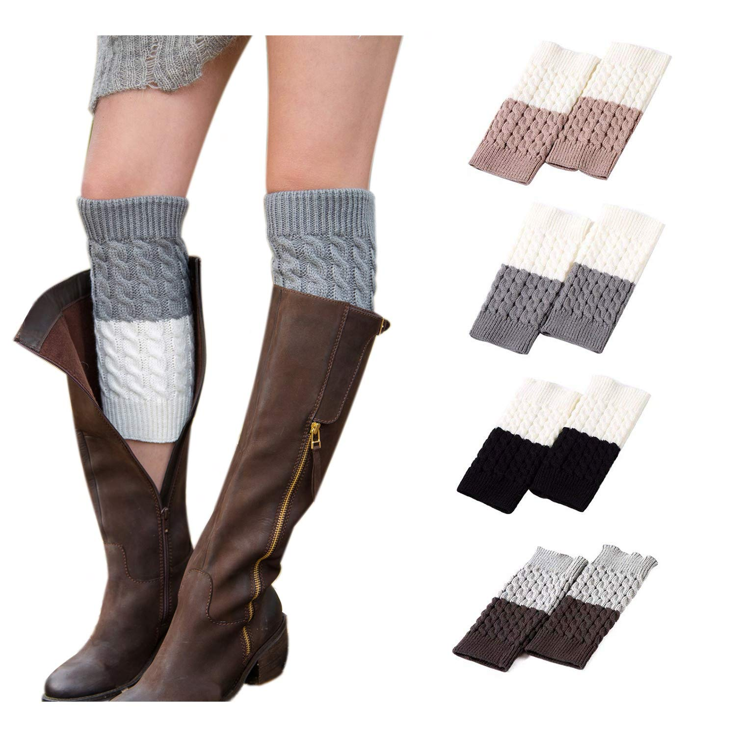 Kaariss Women Winter Warm Crochet Knitted Boot Cuff Sock Short Leg Warmers (4 Pairs-Style d) by Kaariss