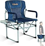 iClimb Heavy Duty Compact Camping Folding Mesh Chair with Side Table