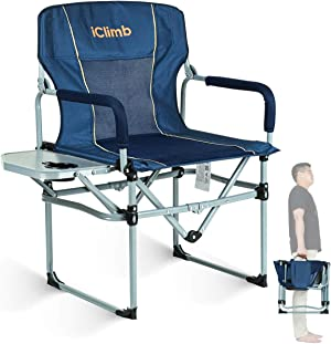 iClimb Heavy Duty Compact Camping Folding Mesh Chair with Side Table and Handle