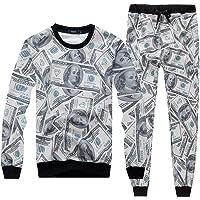 Womens Emoji 100 Scores Printed Pullovers Sweatshirts/Joggers Sweatpants Set