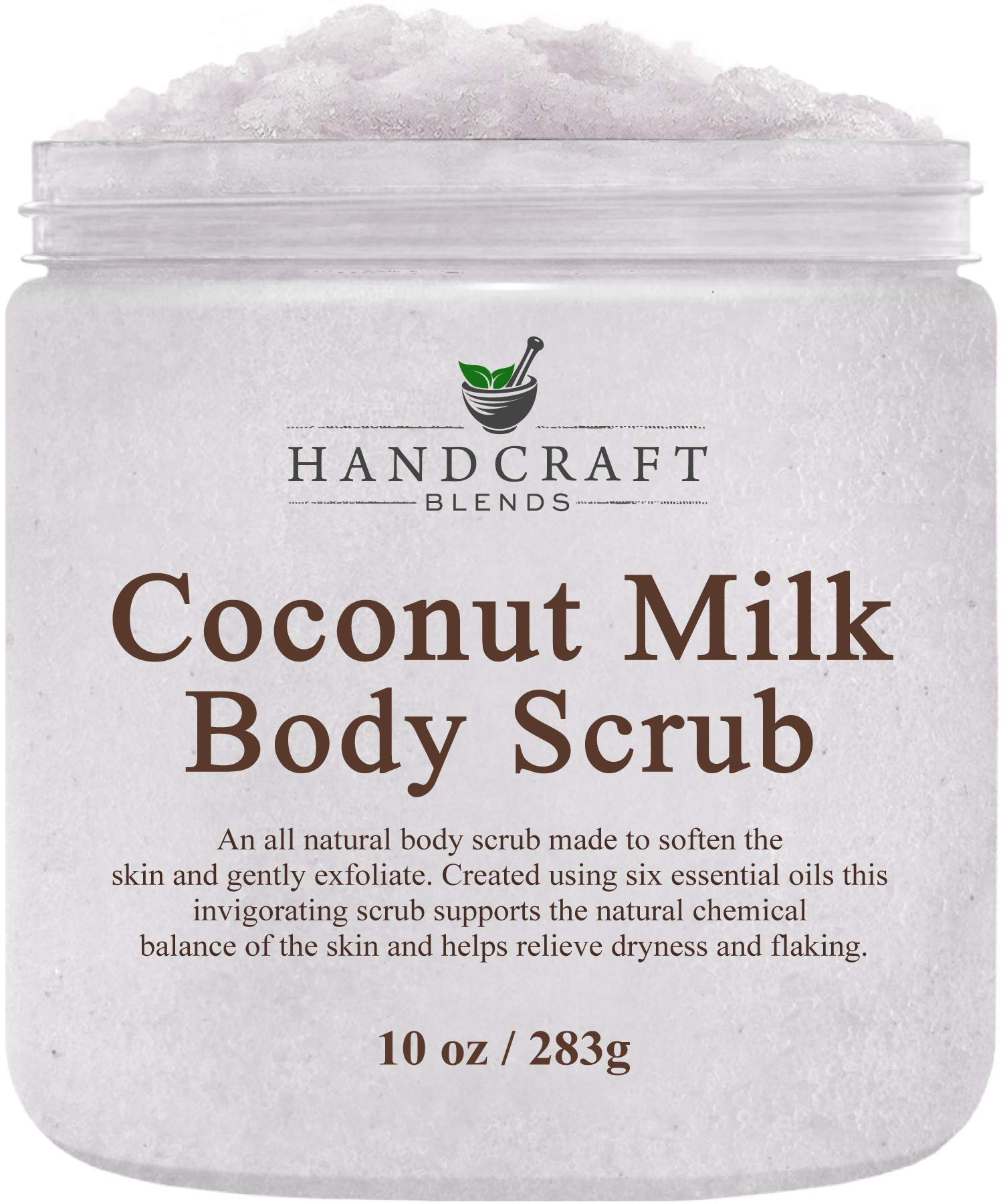 Handcraft Coconut Milk Body Scrub - All Natural - Made With Dead Sea Salt and Essential Oils for Body, Cellulite, Stretch Marks, and Varicose Veins - 10 oz by Handcraft Blends