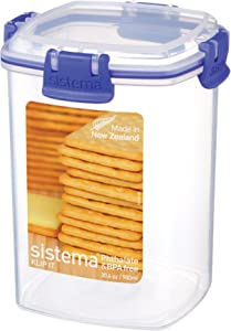 Sistema Klip It Collection Cracker Food Storage Container, Medium, 30 Ounce/ 3.75 Cup