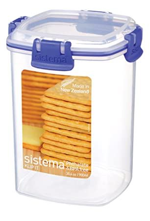 Sistema KLIP IT Cracker Storage Container, 900 Ml   Clear With Blue Clips