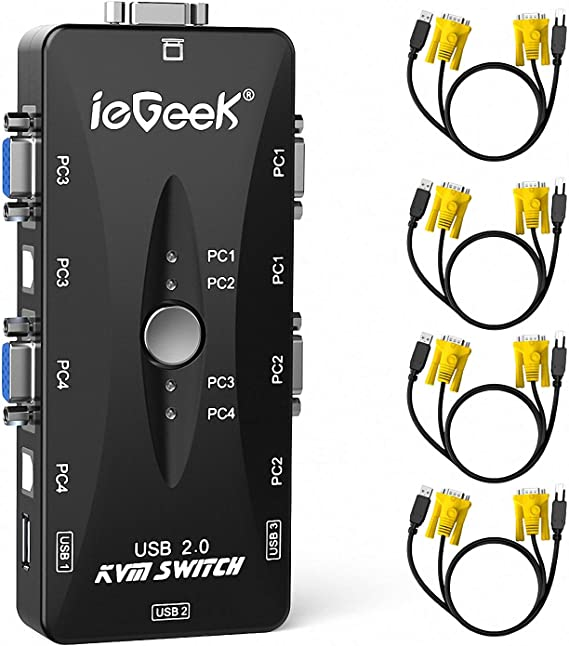 4-Port USB 2.0 KVM Switch with 4 Sets PC1//PC2//PC3//PC4 of Cables for PC Keyboard