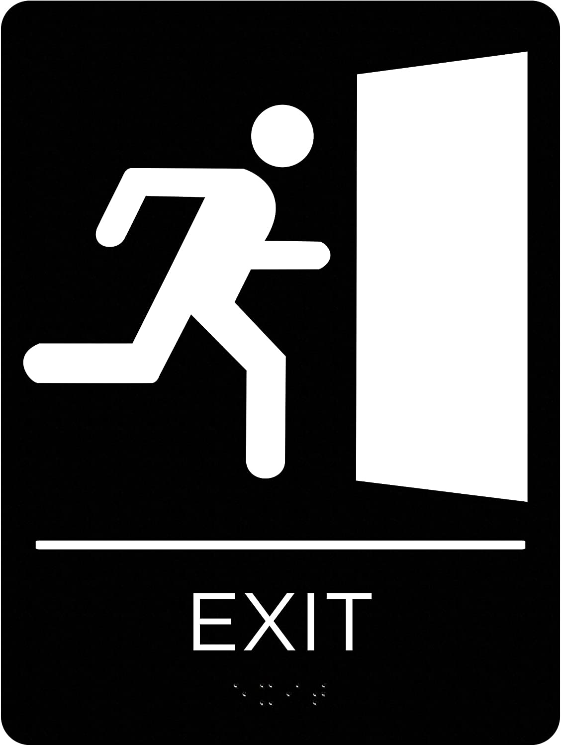 Corko Signs Braille Exit Sign for Door or Wall, ADA Compliant with Double Sided 3M Tape to Secure Perfectly in Less Than a Minute