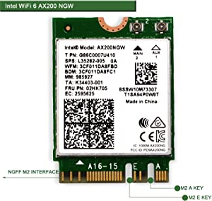 WiFi 6 AX200 WiFi Adapter for Windows 10 64bit Chrome OS and Linux Laptop or Desktop PCs-802.11AX 2.4GHz 574Mbps or 5GHz 2.4Gbps(160MHz) with Bluetooth 5.0-Intel WiFi 6 AX200 NGW
