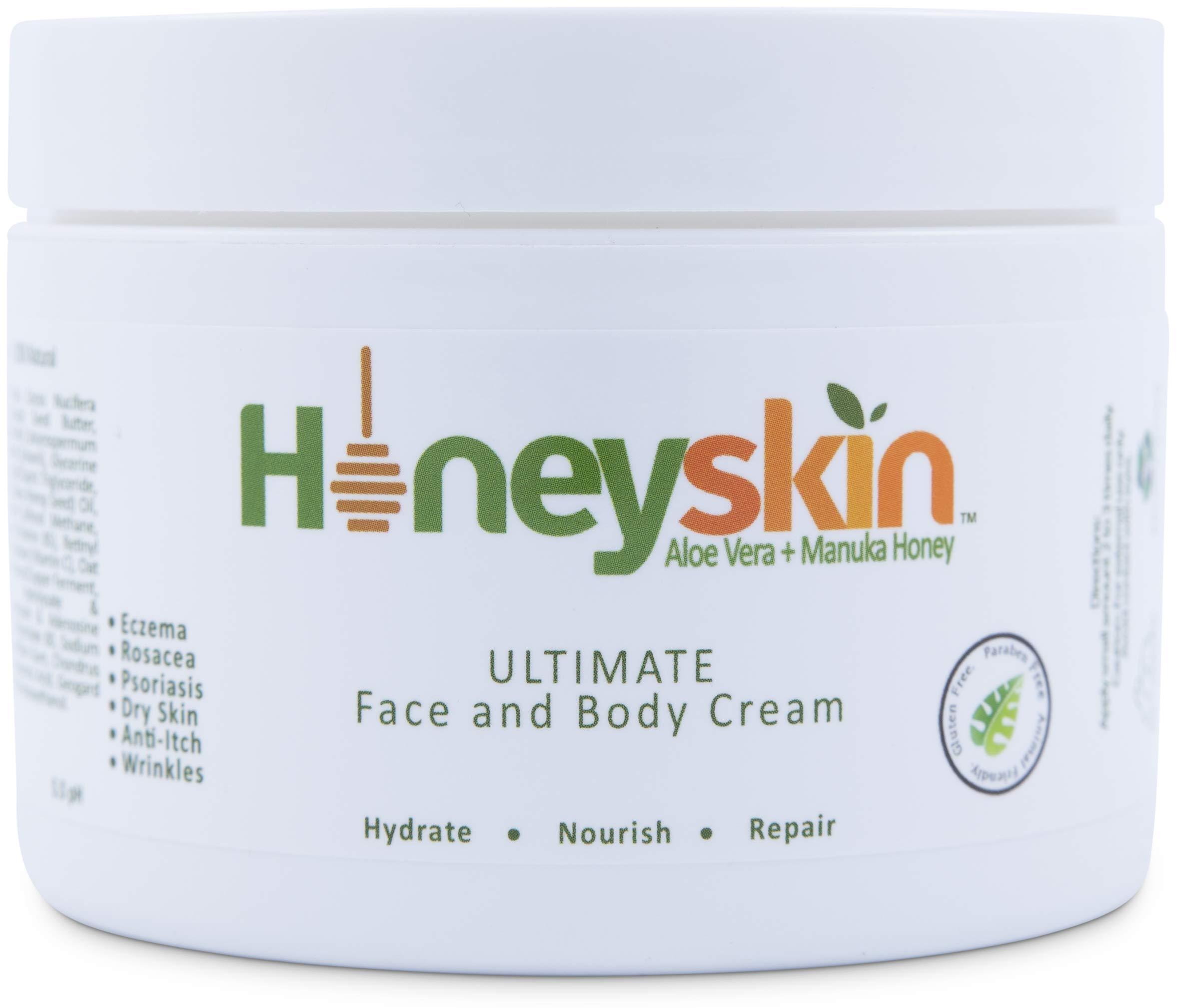 Face and Body Cream Moisturizer - Nourishing Aloe Vera - Manuka Honey for Rosacea Eczema Psoriasis Rashes Itchiness Redness - Natural Organic Cracked Skin Relief - Anti Aging - Anti Wrinkle (8 oz) by Honeyskin Organics