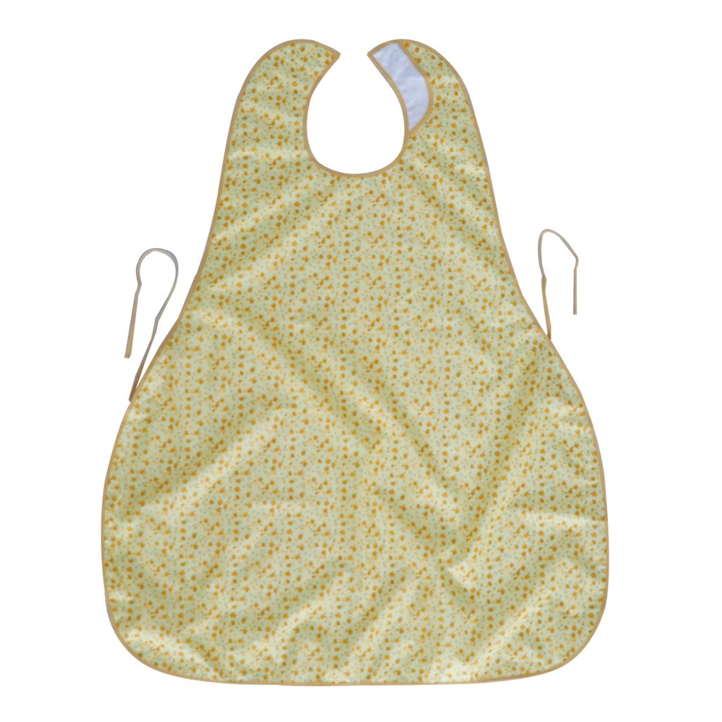 D DOLITY Waterproof Adult Elderly Mealtime Bib Clothes Protector Detachable Aid Apron Prevent the Dropping Foods - Yellow