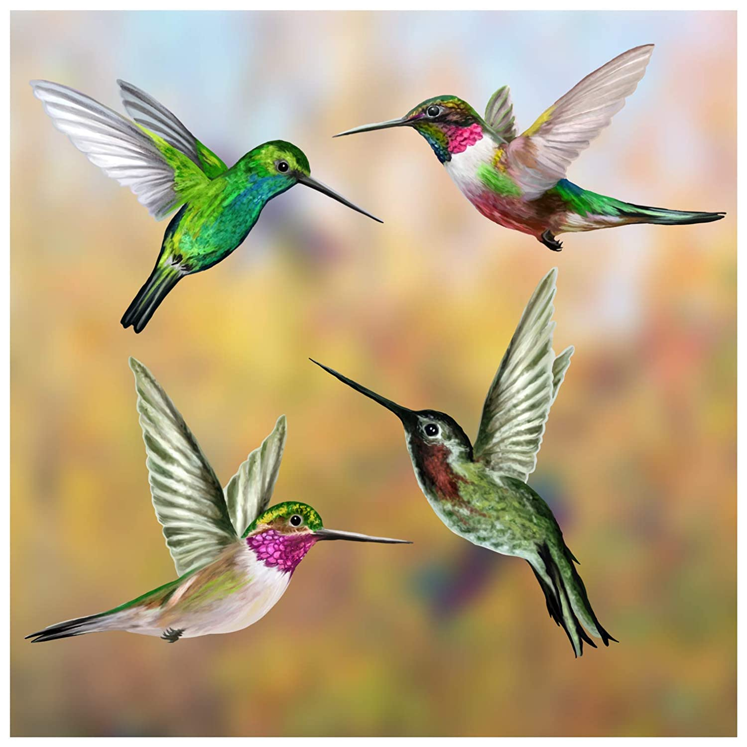 Set of 4 Hummingbird Window Clings Anti-Collision Window Clings//Decals to Prevent Bird Strikes on Window Glass