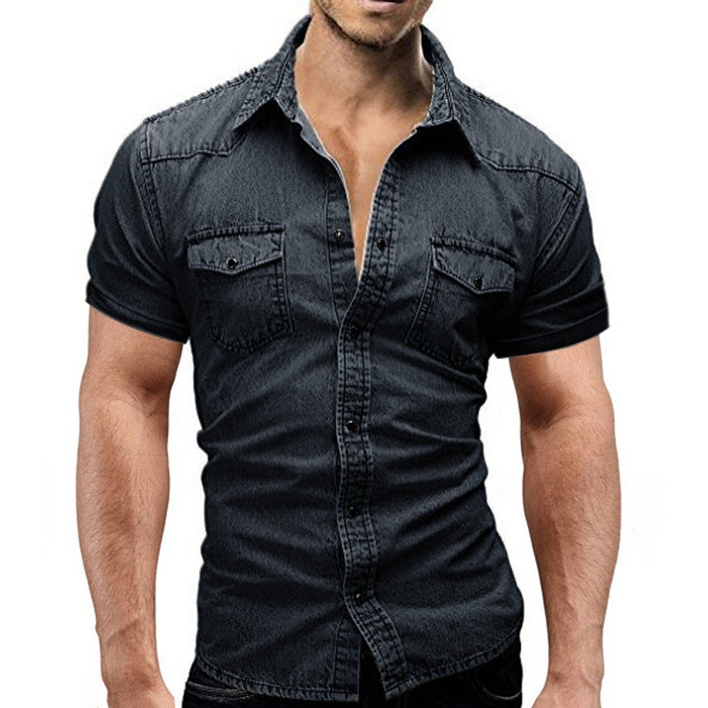 Men's Casual Shirts Summer Short Sleeve Turn-Down Slim Fit Button with Pocket Tops Blouse (3XL, Black) by Moxiu Men's T shirt