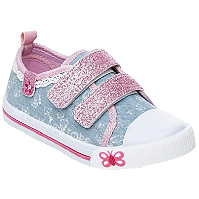 bbc87ae0189a Girls Children Kids Canvas Toddlers Shoes Summer Pumps Casual Infants  Trainers Flat Low Top Velcro Touch Fastening Soft Lightweight Plimsolls  Boots Baby ...