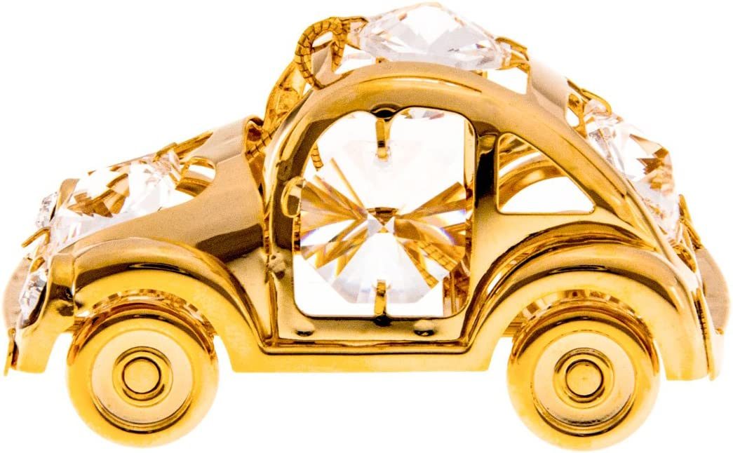 Beetle Car 24k Gold Plated Figurine with Swarovski Crystals