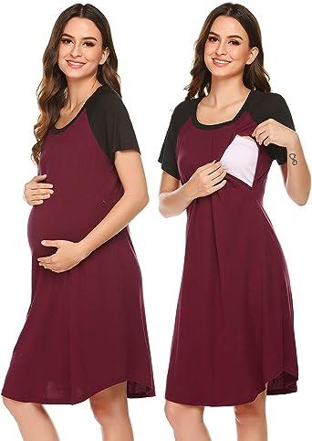 Ekouaer Women Casual Maternity Nursing Nightgown Short Sleeve Labor and Delivery Gown Lace Hem Breastfeeding Sleepwear