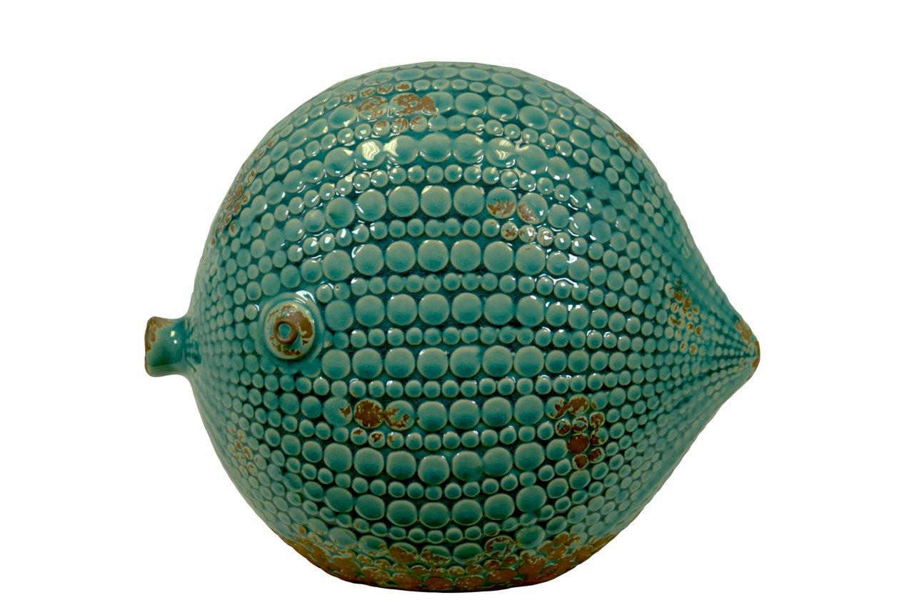 早割クーポン! Beautiful & pattern elegant pattern ceramic blow & fish w/ Beautiful antique effect in blue large B00JZTIXP6, マツマエグン:6acae35d --- arcego.dominiotemporario.com