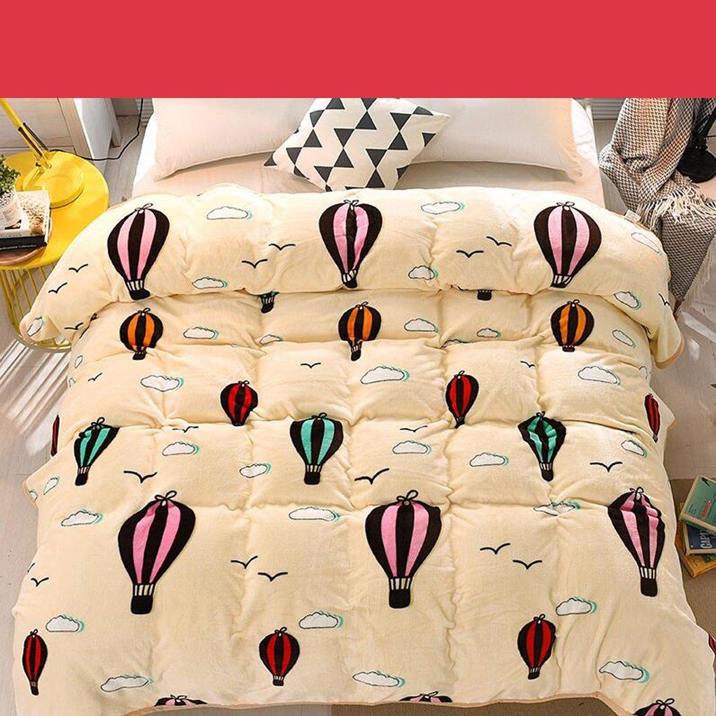 Xuan - worth having Beige Heißluftballon Muster Bett Decke Quilt Flanell Verdickung Warm Student Winter Winter Blätter ( größe   180200cm )