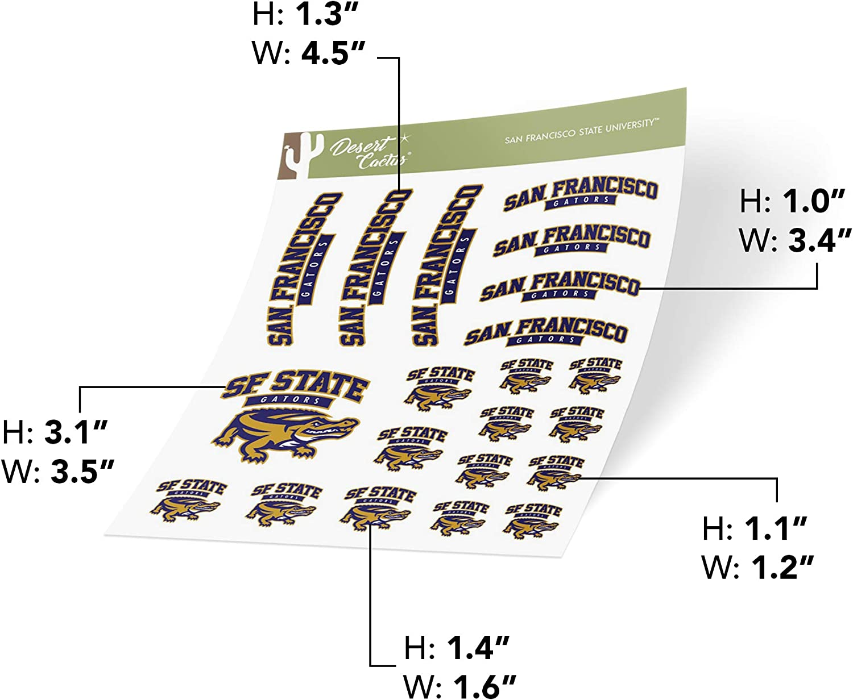 San Francisco State University SFSU Gators NCAA Sticker Vinyl Decal Laptop Water Bottle Car Scrapbook Full Sheet 2-Logo