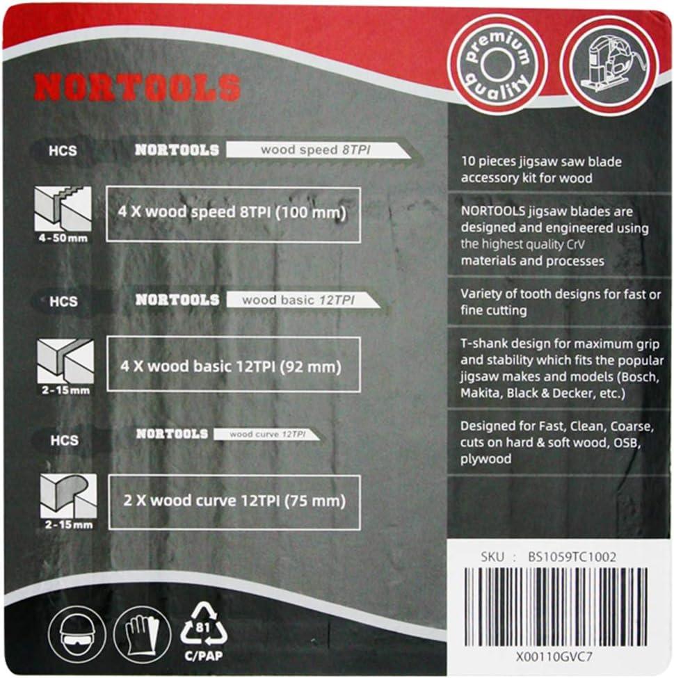 NORTOOLS Pro T-Shank Stichs/ägebl/ätter Set Schneiden Holz Metall Hartholz passend f/ür Bosch Dewalt Makita etc 10 St/ück